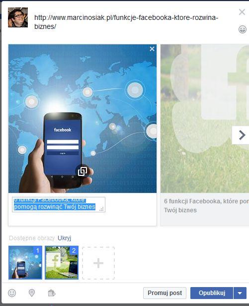 biznes post facebook dwa zdjęcia
