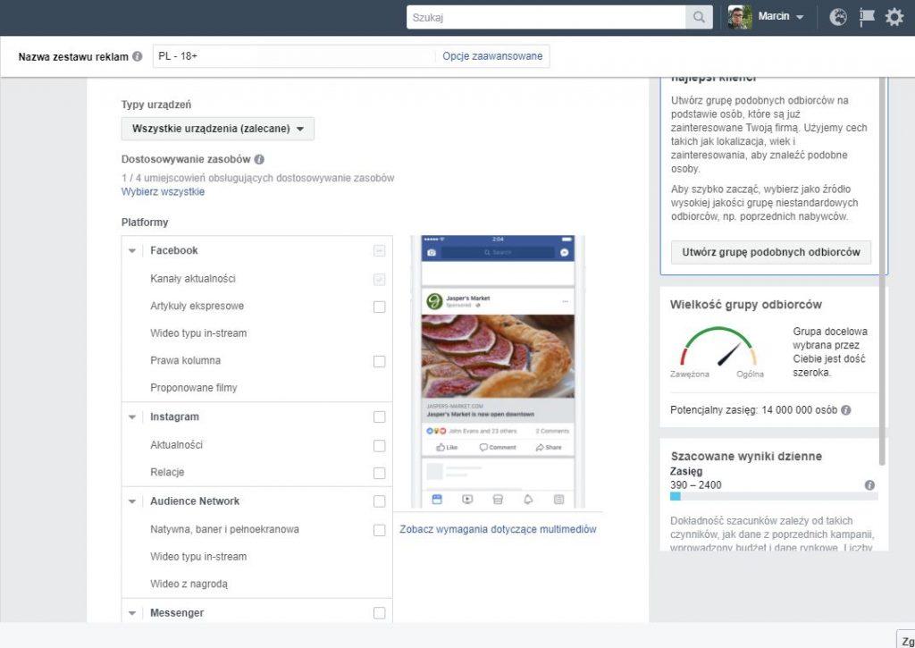 trzecia zasada skutecznej reklamy naFacebooku - wybierz umiejscowienia ibudżet