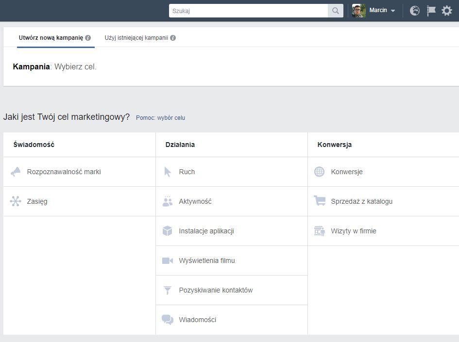 Pierwsza zasada skutecznej reklamy naFacebooku - wybierz cel
