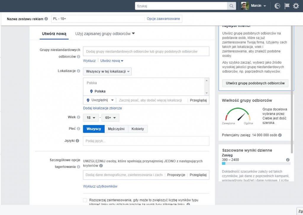 druga zasada skutecznej reklamy naFacebooku - wybierz odbiorców